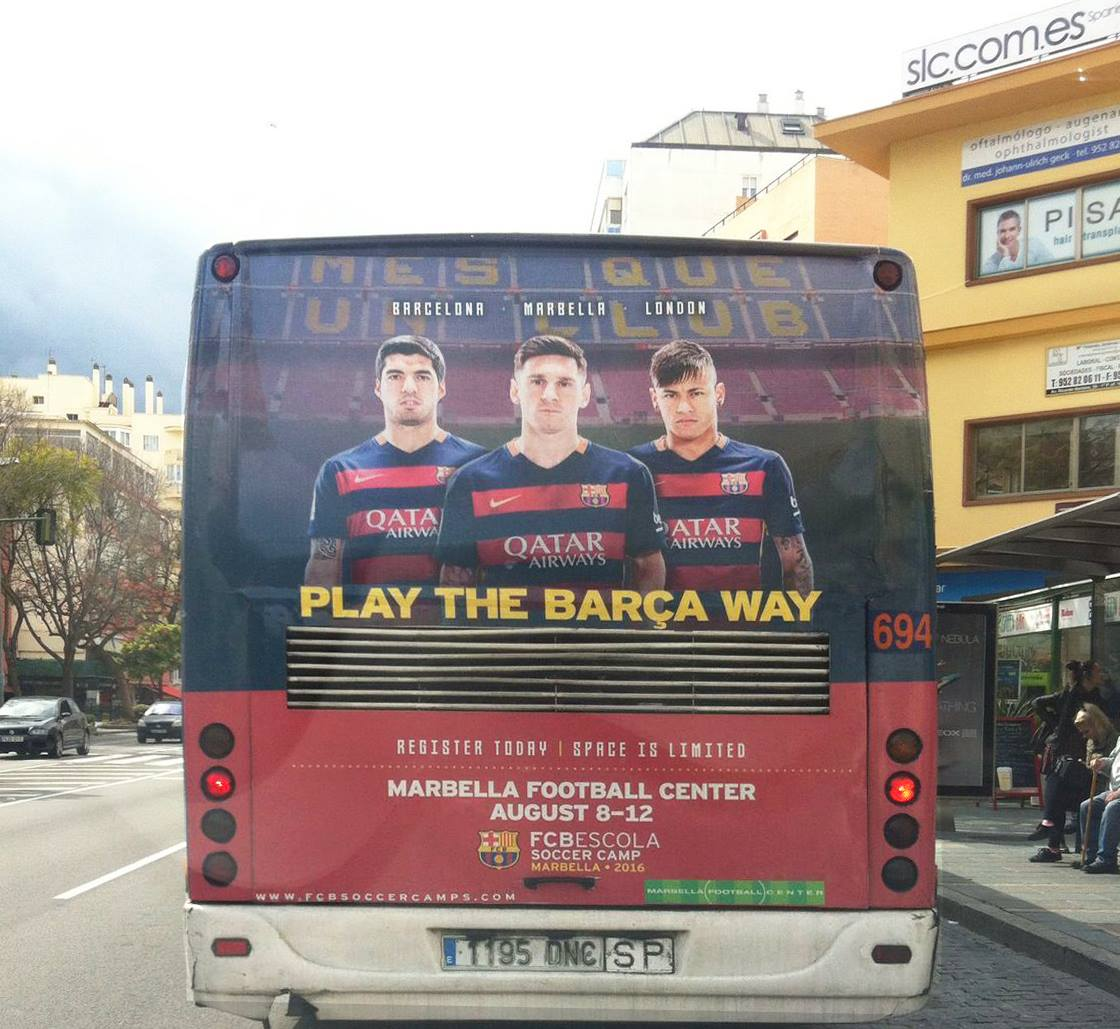 Outdoor advertising campaign in Marbella buses for FCB