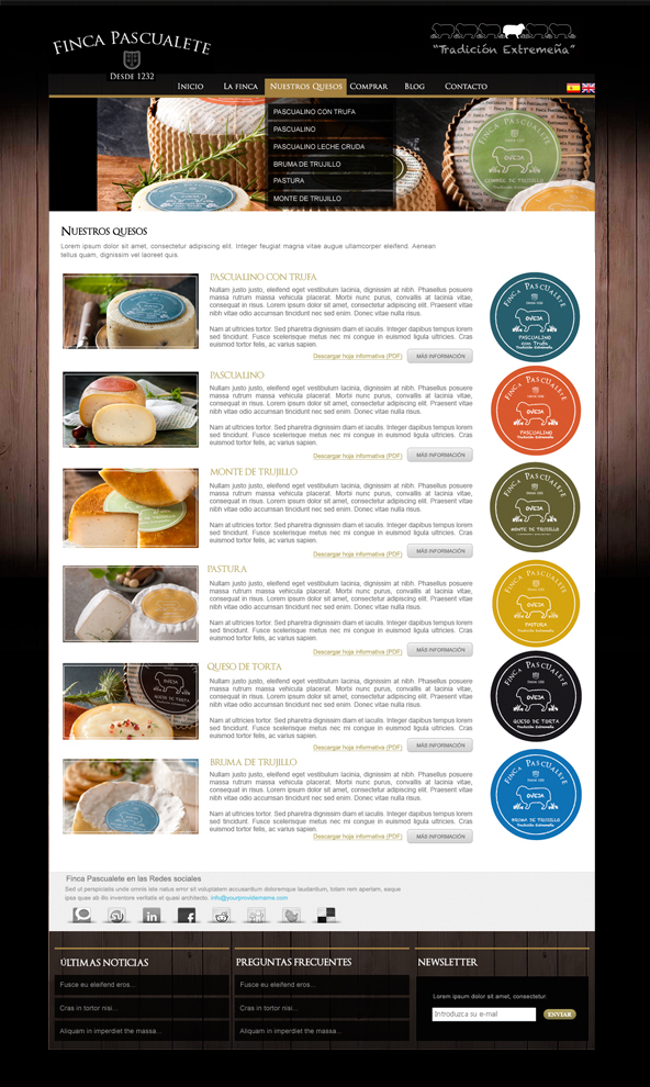 Web Design for Finca Pascualete (The Food Company)