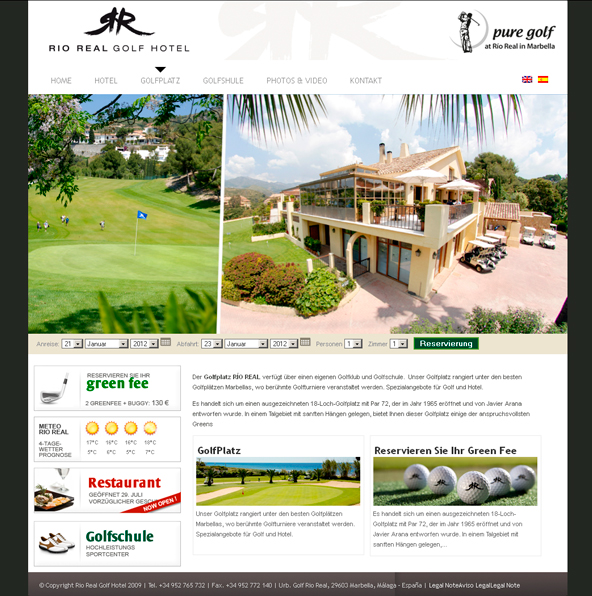 Rio Real Golf Hotel Web Design