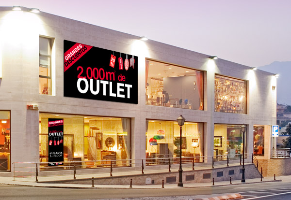 Labels and posters designs for furniture store muebles a for Muebles exterior outlet