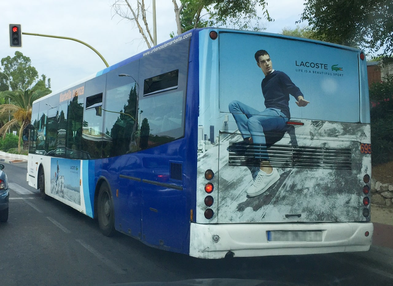 Outdoor advertising in Marbella buses for Lacoste