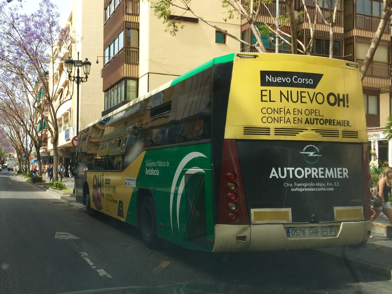 Bus advertising campaign in la Costa del Sol for Autopremier