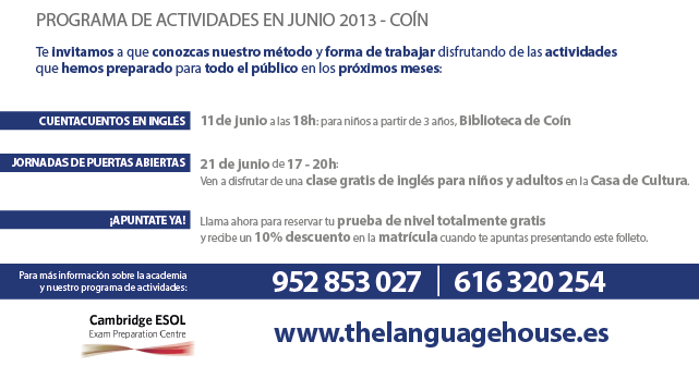Diseño de flyers para The Languaje House