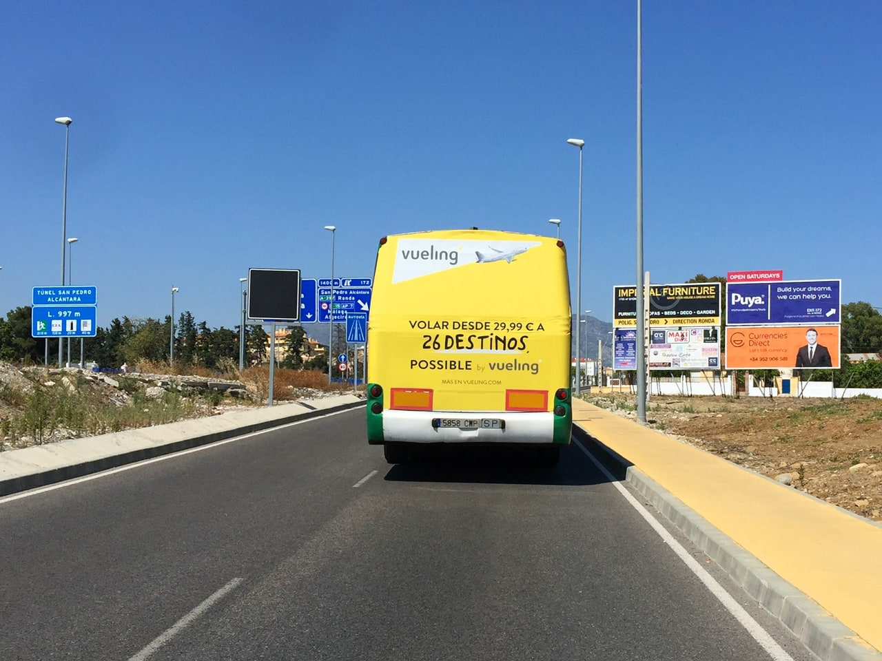 Bus advertising campaign in Marbella for Vueling