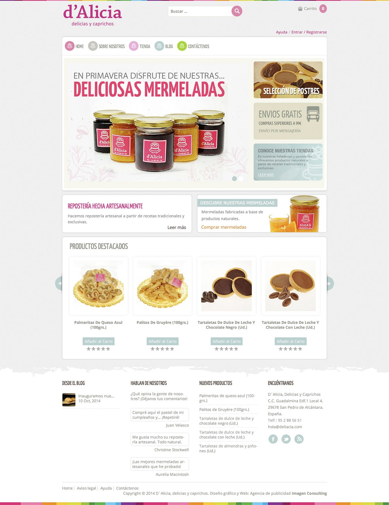 Shop online design for De Alicia Café