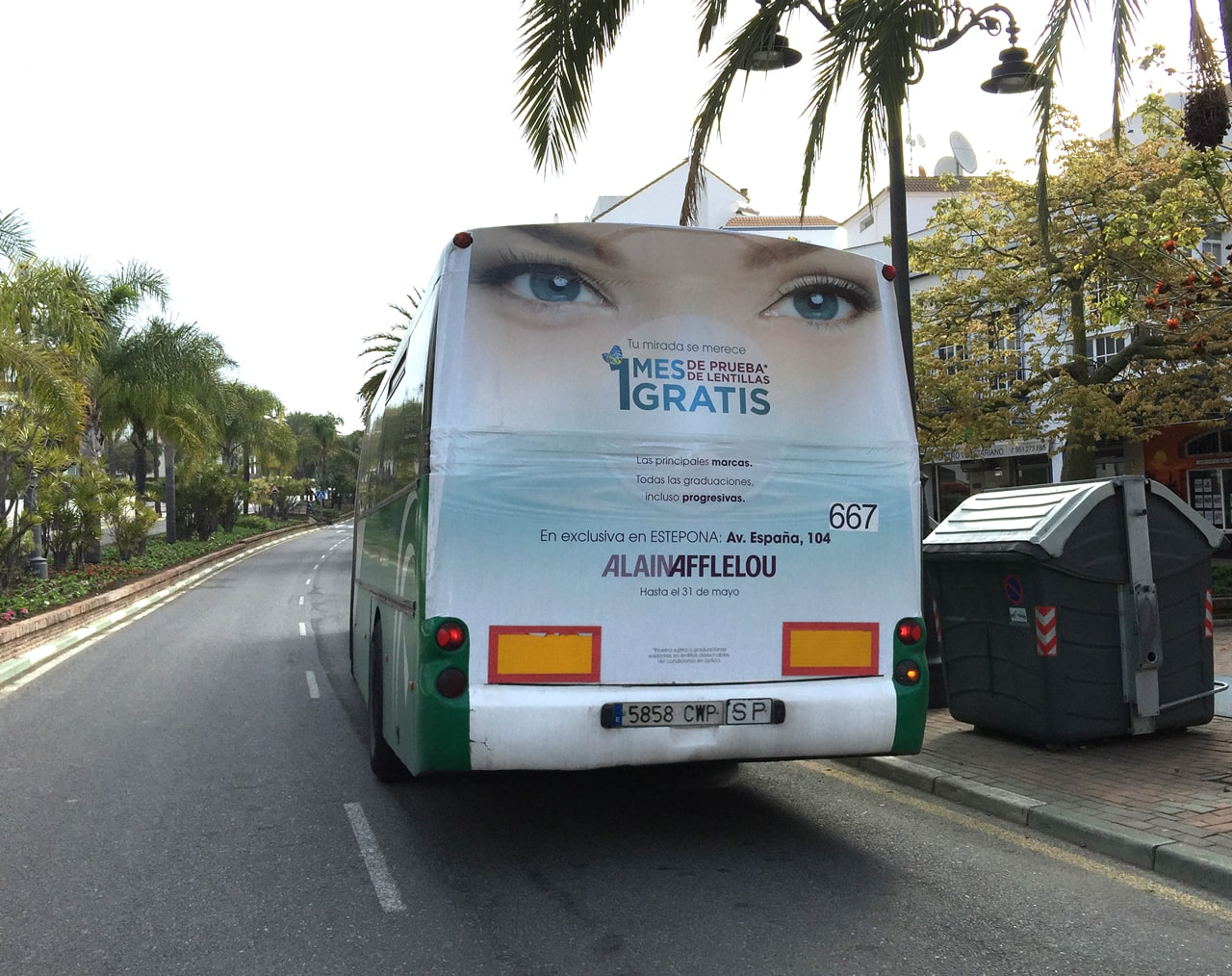 Bus advertising campaign in Marbella and Estepona for Alain Afflelou