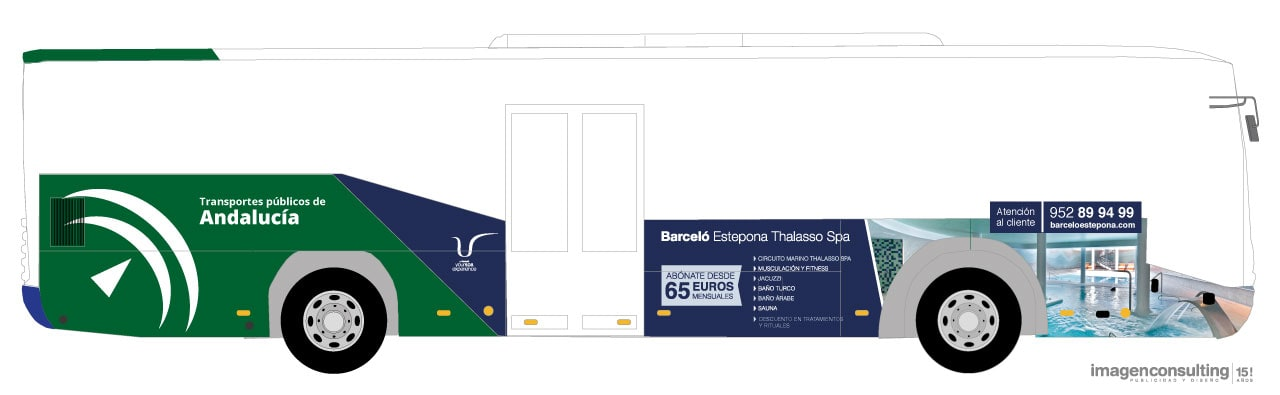 Bus advertising design and campaign for Barceló Hoteles