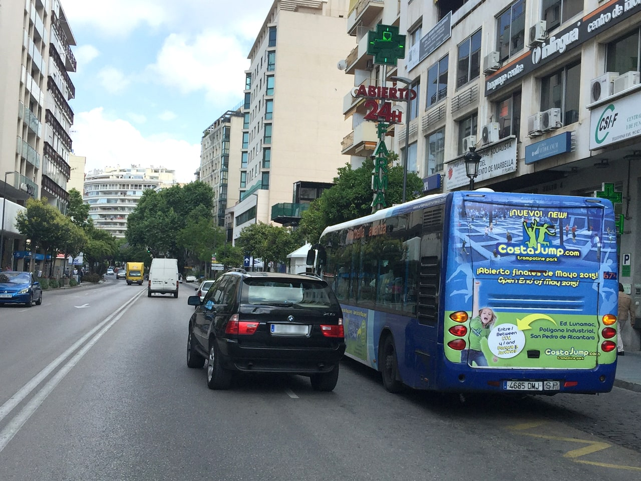 Outdoor advertising campaign in Marbella buses for Costa Jump
