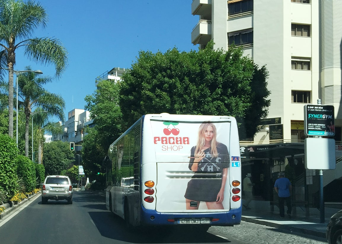 Bus advertising campaign in Marbella for Pacha Shop