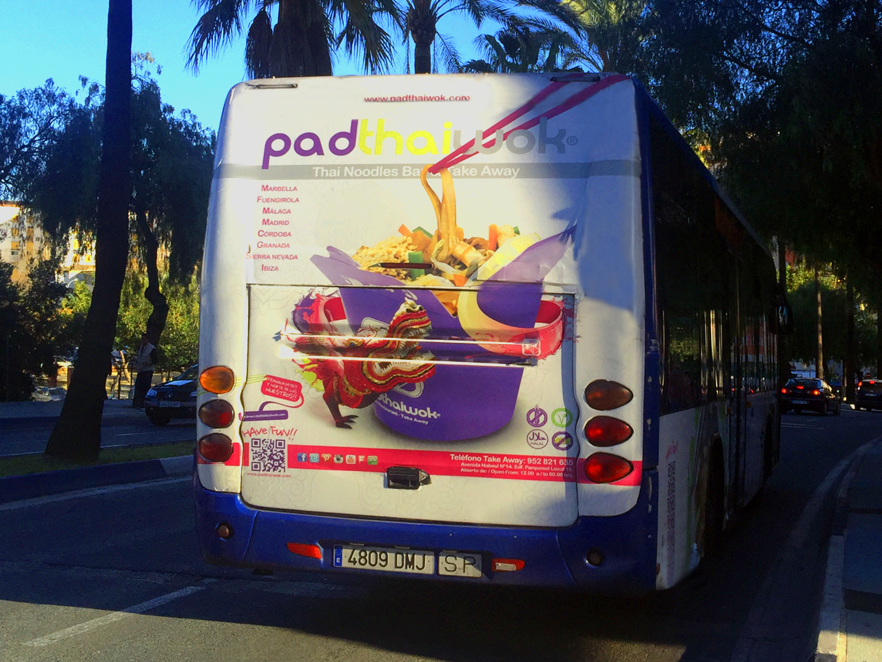 Advertising bus campaign in Marbella for PadThaiWok