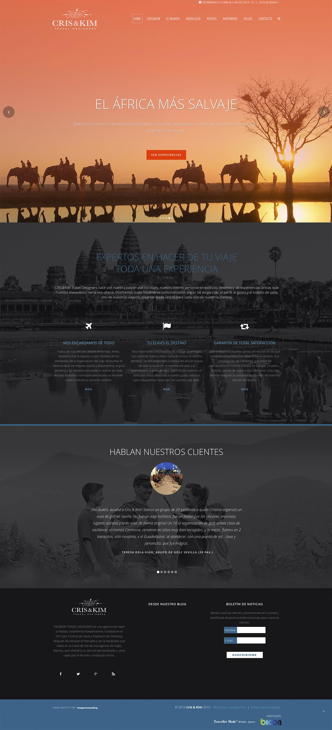 Web design for Cris&Kim Travel Designers