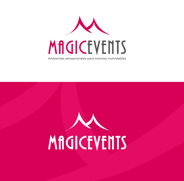 Diseño de logotipo e imagen corporativa para Magic Events. Ambientes sensacionales para eventos inolvidables