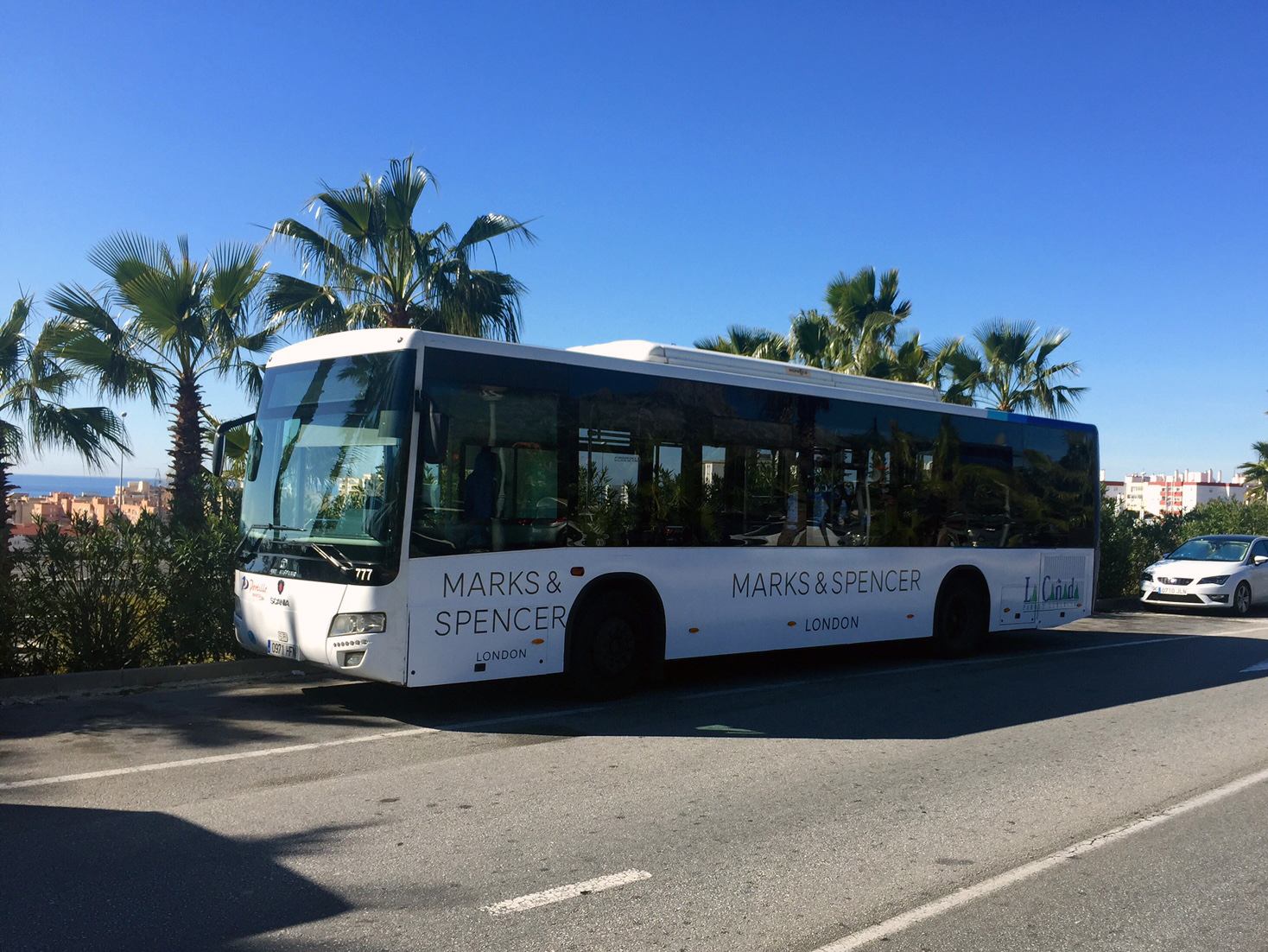 Advertising bus campaign for Marks & Spencer in Marbella