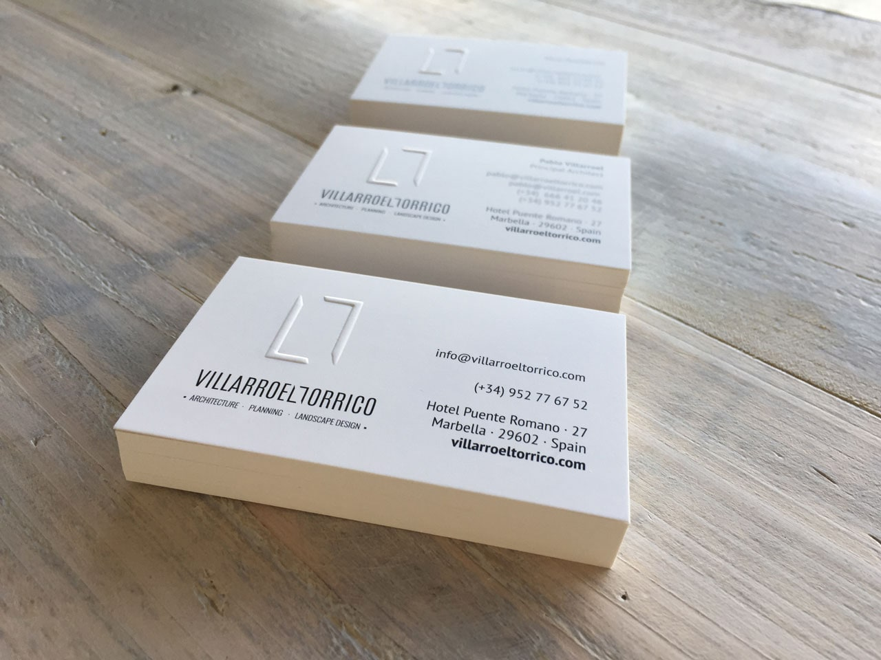 Business card design for Villarroeltorrico Arquitecture