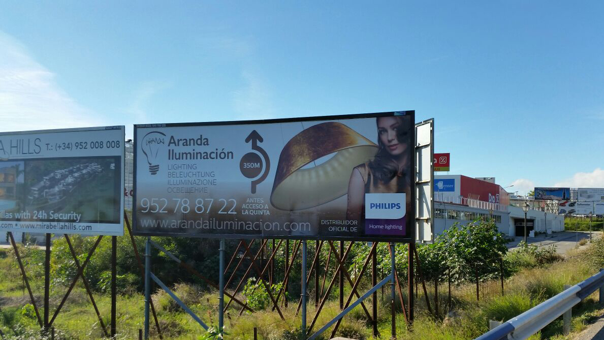 Advertising billboard for Aranda Iluminación