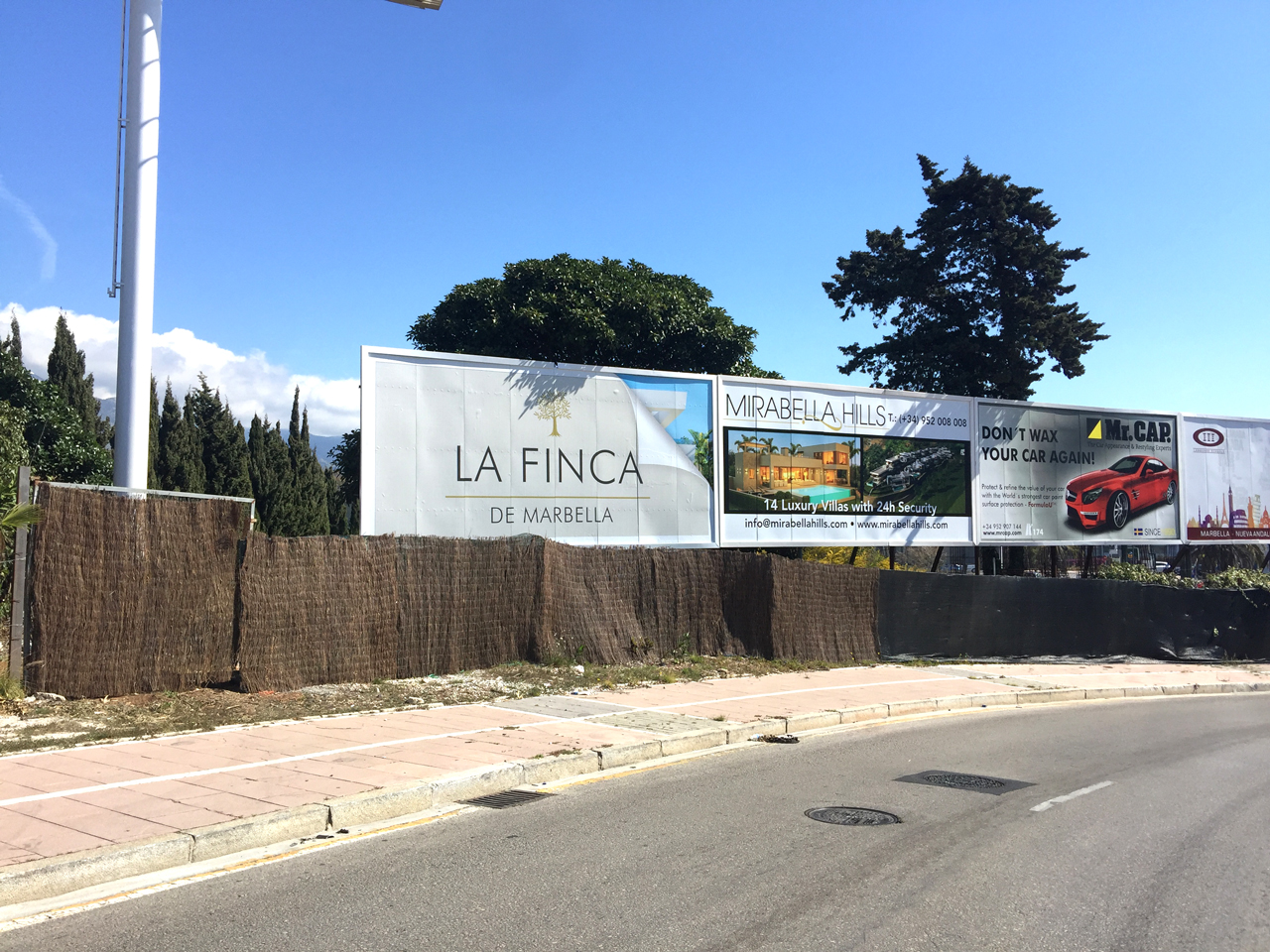 Advertising billboard in Puerto Banús for La Finca de Marbella