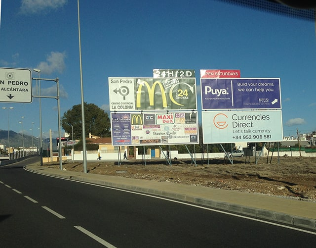 Valla Publicitaria en Guadalmina para Currencies Direct