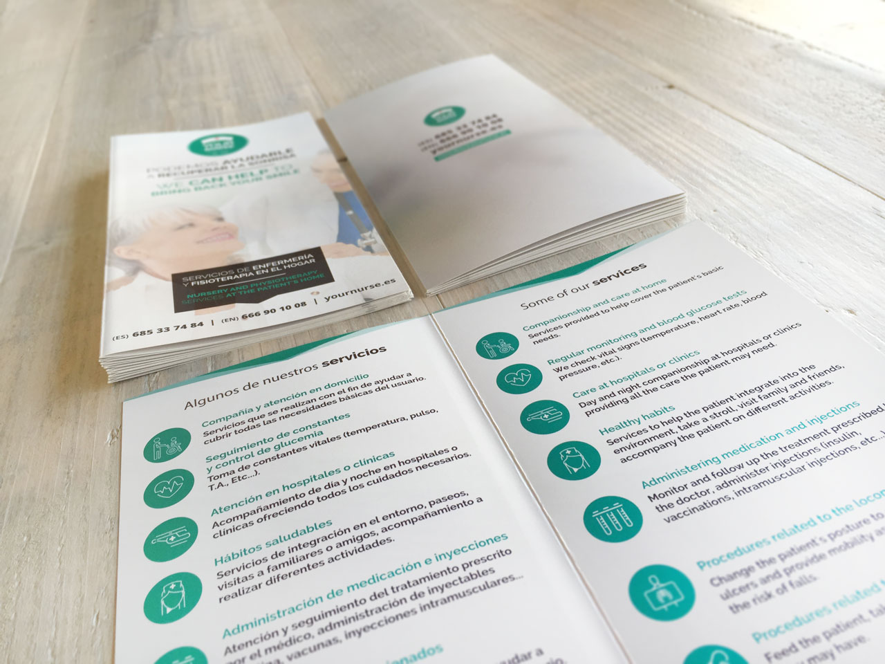 Brochure design and printing for Your Nurse Marbella